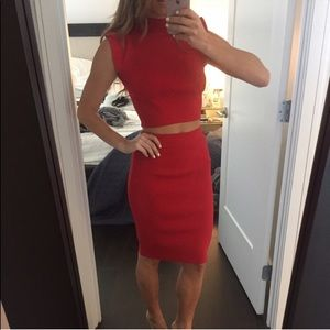 Red WOW Couture Skirt Set with Cropped Top